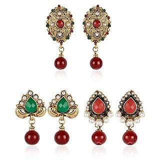 Shining Diva Festive Combo of Three Pairs of Earrings