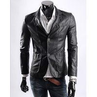 P018 - Italiano TUCCI Slim Long Semi Leather Jacket For Men Party Wear any Season Smart Wear Jacket