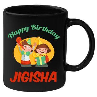Huppme Happy Birthday Jigisha Black Ceramic Mug (350 Ml)