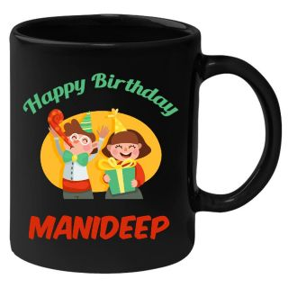 Huppme Happy Birthday Manideep Black Ceramic Mug (350 Ml)