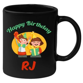 Huppme Happy Birthday Rj Black Ceramic Mug (350 Ml)