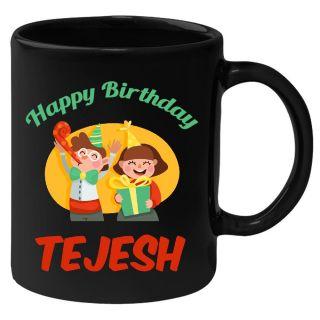 Huppme Happy Birthday Tejesh Black Ceramic Mug (350 Ml)