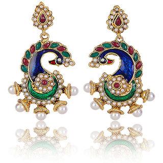 Shining Diva Peocock Designed Kudan Studded Hanging Earrings