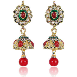 Shining Diva Red ,Green & White Beaded Jhumki