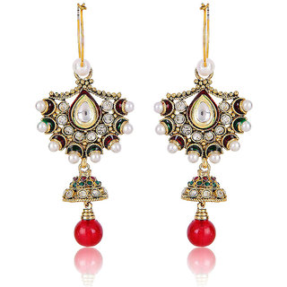 Shining Diva Red Drop Classy Earrings