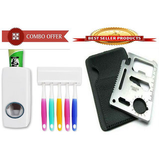 Combo of Toothpaste Dispenser Stainless Steel Survival Toolkit