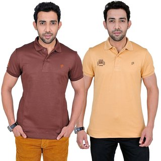 Fabnavitas Polo Neck Cotton T-shirt Pack of 2