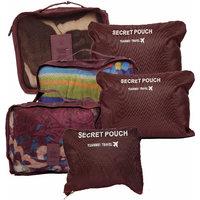 Plain Maroon Nylon Luggage Organiser ( 6 Pcs )