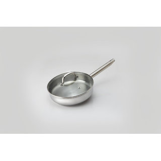 Alda Impact Bounded Stainless Steel Saute Pan with Glass Lid 24cm