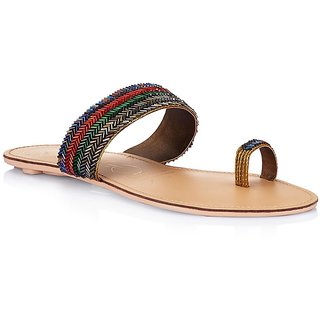 Multi Colour Flat Slip-Ons