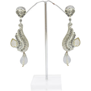 Reva Grey and Silver Alloy Fashion Dangler Earring
