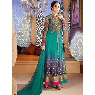 Green Net Anarkali Semi Stitched Partywear Dress Material