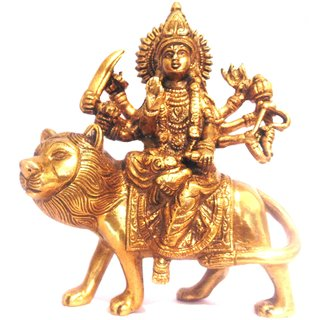 Divine Gods Lord Durga brass statue and Idol - 15.5 cms
