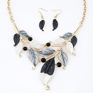 Fave Designer Black Leafy Design Alloy Jewelry Sets