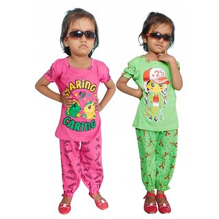 Girls Top and Payjama Set (Assorted Color) (Combo of 2)