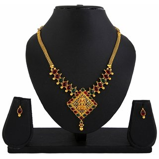 Diva Goddess Pink Green Laxmi Temple Jewellery Pendant Earrings Set-422