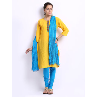 Escan Blue Cotton Plain Chudidar Dupatta Set