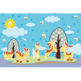 Walls and Murals Antler Deer Island Kids Peel and Stick Wallpaper in Different Sizes (48 x 72)