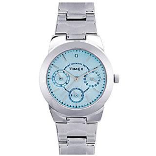 Timex E-Class Analog Blue Dial, Silver Strap Women's Watch - J102