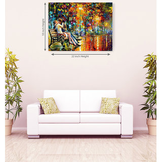 Romantic Couple Seating On Branch Floral Romantic Canvas Painting