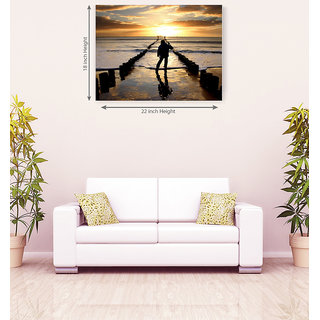 Sunset In Sea Romantic Canvas Painting