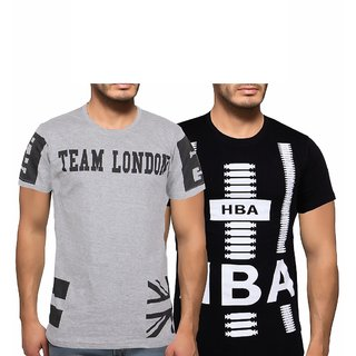 Getzen Mens Cotton Tshirt Combo Offer (Pack of 2)(AT-0098-1GreyBlack)