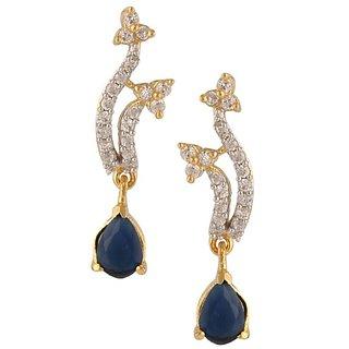 Tyllo Blue stone Gold Plated Amercan Diamond Earring