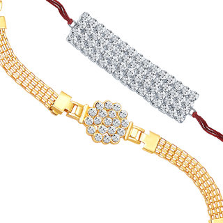 Sukkhi Gold and Rhodium Plated Set of 2 Designer Rakhi Combo