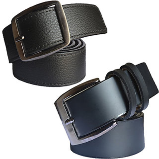 Sunshopping mens black Leatherite needle pin point buckle belt (COMBO)