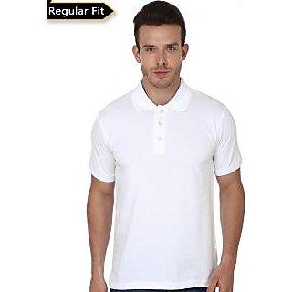SPANCO Men Polo Collar -T Shirt (White Colour)