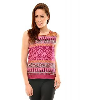 Indiwagon Purple Round Neck Sleeveless Top