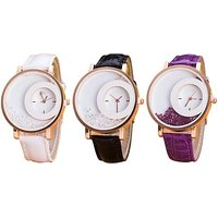 Style Feathers Combo Of 3 White-Black-Purpel Analog Watch - For Women, Girls