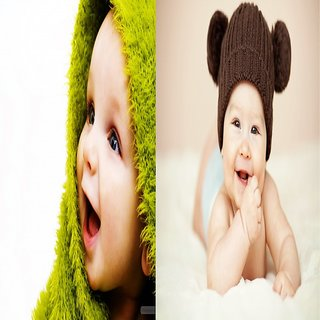 Cute Baby Poster- 2 Pcs Combo Smiling New Born Kid Infant Child love Wall Decor