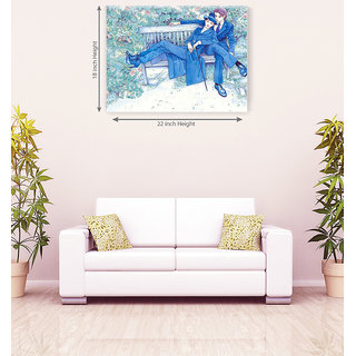 Drawing Seating On Couple Romantic Canvas Painting