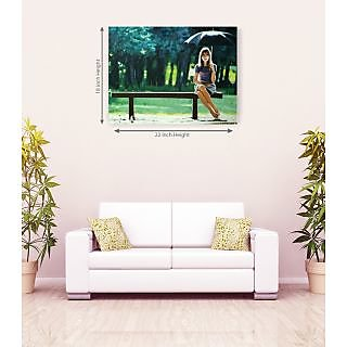 Alone Girl In Seating On Park With Umbrella Romantic Canvas Painting