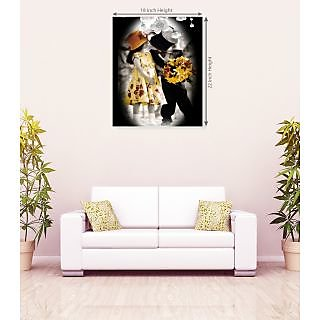 Beautiful Couple Seating On Horse Romantic Wall Canvas Painting