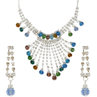 Prizeta Multi color Crystal Fancy Alloy Necklace Set - 4001022
