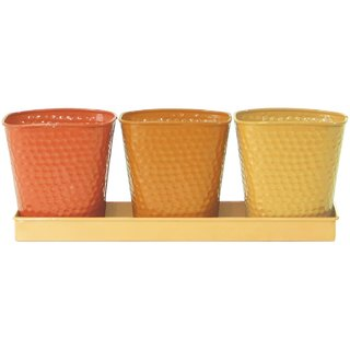 FabFull Jordon 3 Metal Planting Pots In Tray Multi