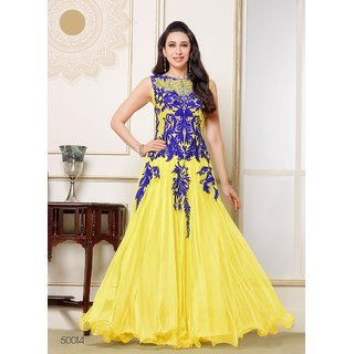 Style Amaze Yellow Georgette Embroidered Gown MSSTYLE-11