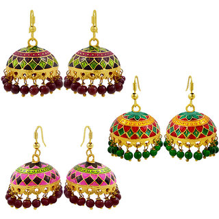 Exclusive meenakari jhumki earring combo of 3