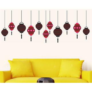 Wall Dreams Hanging Lamps In Red  Maroon StickerDecals 6977