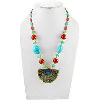 Adbeni Mosaic Pendant On Terrcotta Beads Handcraft Necklace-ADB-011