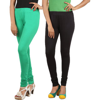 Phoenix Womens Green and Black color Leggings Pack of 2