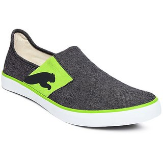 Puma Trendy Black And Green Slip-on Canvas Shoes