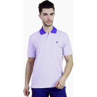 Caribbean Joe Plus Mens Bright Blue Performance Stripe Island Polo T-shirt