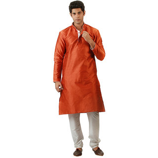 Amora Designer Ethnic Orange Blended Silk Kurta For Men