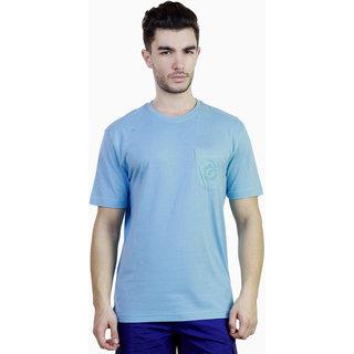 Caribbean Joe Mens Waterfed Blue Pocket Crew Island T-shirt