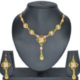 Aakshi Meenakari Pink Stone Studded Set Encraved In Traditional Design