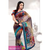 Matwali Cornflower And Multicolor Printed Georgette Saree
