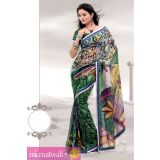 Matwali Jade Green And Multicolor Cornflower Printed Georgette Saree